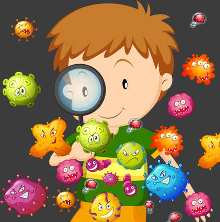 adolescent boy: Boy looking at bacteria through magnifying glass illustration