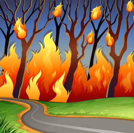 scena del disastro di incendi boschivi illustrazione
