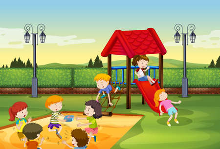 children art: Children playing together in the playground illustration