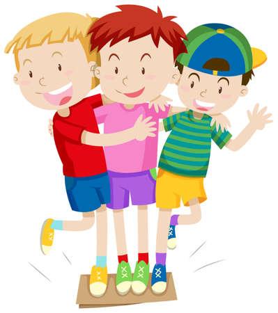 small children: Three boys playing game illustration Illustration