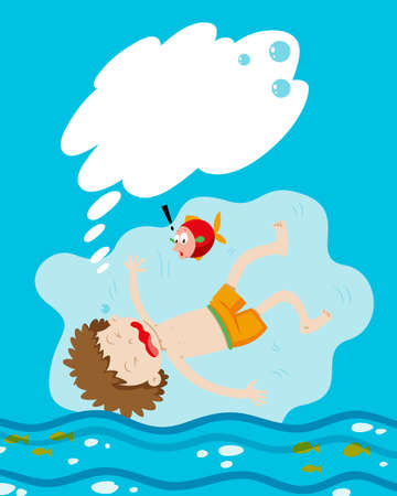 drowning: Boy drowning under the water illustration