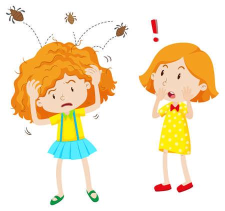 piojos: Chica con piojos de la cabeza saltando en su cabeza ilustración