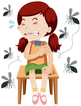mosquitos: Girl being bitten by mosquitos illustration Illustration
