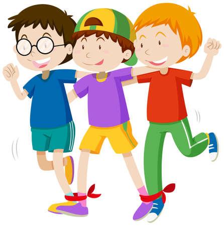 boys playing: Three boys playing game  illustration