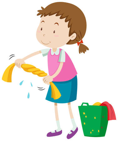 chore: Little girl squeezing clothes illustration Illustration