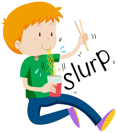 asian children: Boy slurping noodles from the cup illustration Illustration