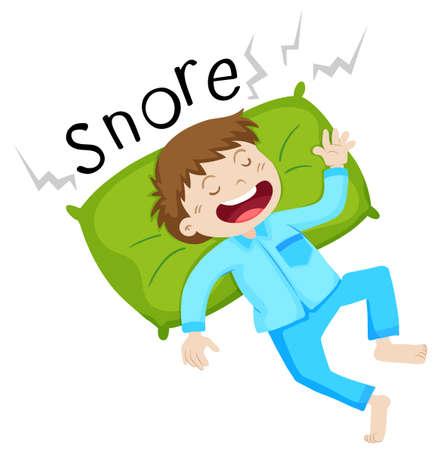snoring: Boy in bed snoring illustration Illustration