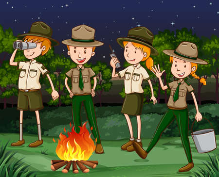 Park rangers at the campfire illustration