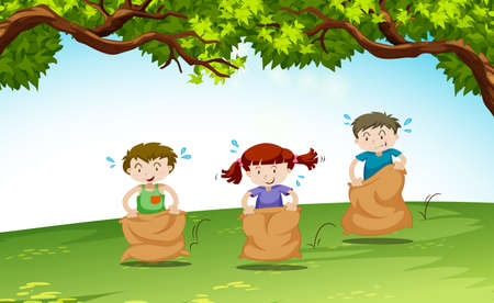 Three kids playing in the park illustration