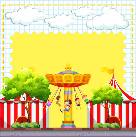 amusement park rides: Border design with circus scene illustration Illustration