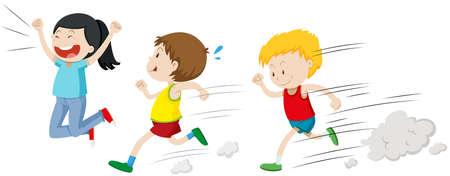 niño corriendo: Dos muchachos que se ejecuta en una ilustración de la raza