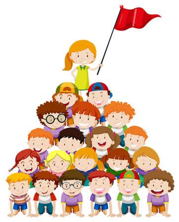 piramide humana: Ni�os que hacen la ilustraci�n pir�mide humana Vectores
