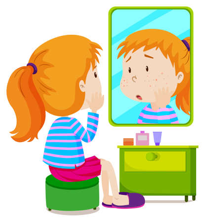 healthy kid: Girl with measels looking at mirror illustration Illustration