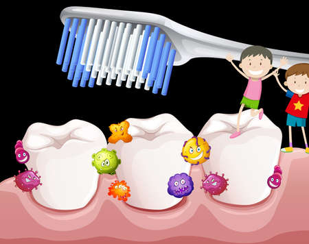 Boys brushing teeth with bacteria illustration Çizim