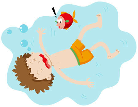 drowning: Little boy drowning under the water illustration