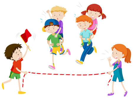Children playing piggy back ride race illustration