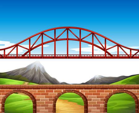 bridge in nature: Nature scene with bridge and wall illustration