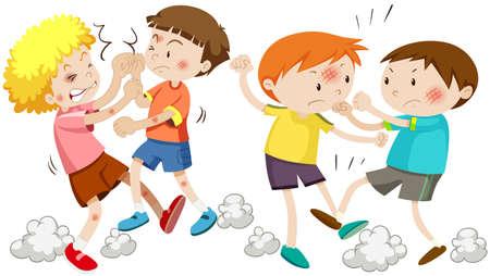 peleando: Niños luchando y conseguir la ilustración herido
