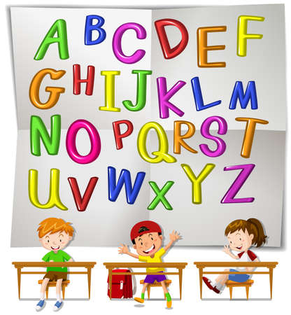 english letters: English alphabets and children in class illustration Illustration