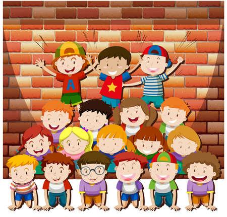 piramide humana: Los ni�os que juegan juntos pir�mide humana ilustraci�n