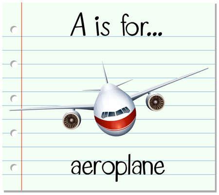 Flashcard letter A is for aeroplane illustration Vektoros illusztráció