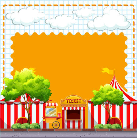 amusement park rides: Paper design with circus tents illustration