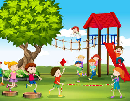 kids playing: Kids playing and racing in the playground illustration Illustration