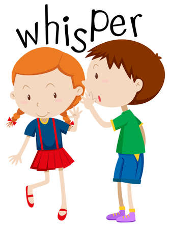 Boy whispering to the girl illustration