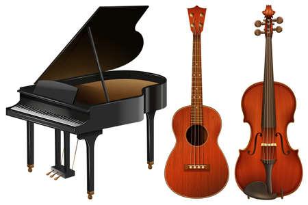 instrumentos musicales con el piano y la guitarra Ilustración
