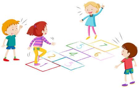 Boys and girls playing hopscotch illustration Stock Illustratie