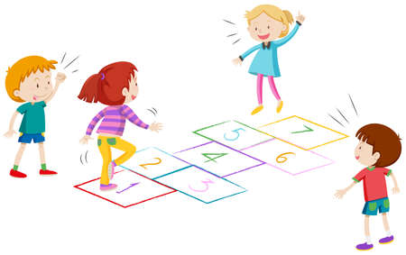 Boys and girls playing hopscotch illustration Illustration