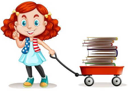 pulling: Girl pulling cart full of books illustration