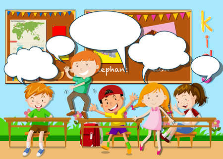 children room: Children playing in the classroom illustration