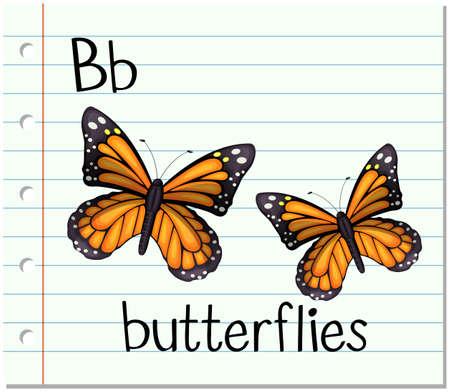 phonetic: Flashcard letter B is for butterflies illustration