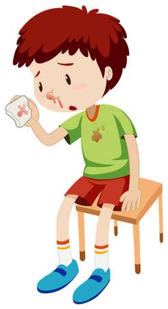 hemorragias: Muchacho con la ilustración sangrado de la nariz Vectores