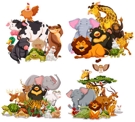 Four groups of wild animals illustration Vectores