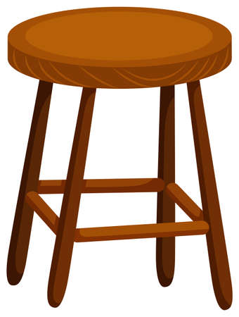 stools: Wooden chair on white background illustration Illustration