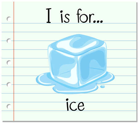 ice font: Flashcard letter I is for ice illustration