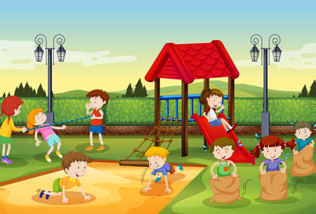 Kinderen spelen in de speeltuin illustratie