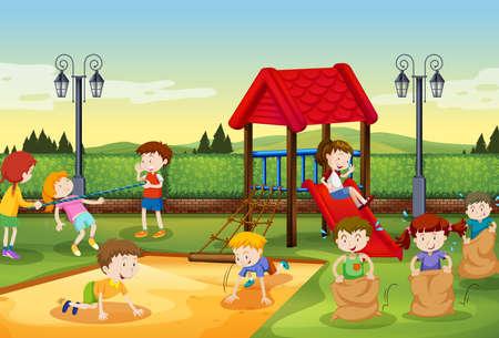 niños en recreo: Niños jugando en el patio de la ilustración