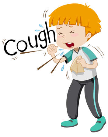 coughing: Sick boy coughing hard illustration