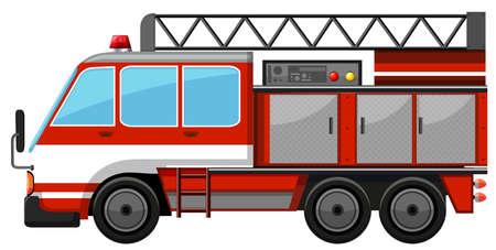 camion de bomberos: camión de bomberos con la ilustración de escalera Vectores