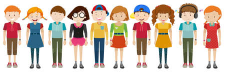 small group of objects: Simple characters standing together illustration Illustration