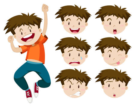 Muchacho con expresiones faciales ilustración
