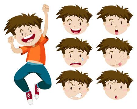expresiones faciales: Muchacho con expresiones faciales ilustración Vectores