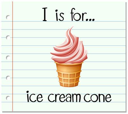icecream cone: Flashcard letter I is for icecream cone illustration Illustration
