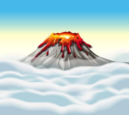 natural disaster: Volcano peak in the sky illustration