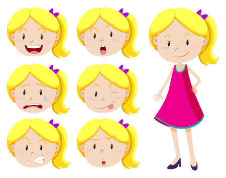 pequeño: La muchacha linda con diferentes expresiones faciales ilustración Vectores
