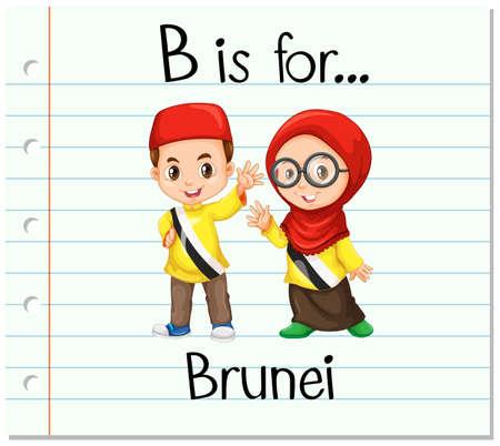 brunei: Flashcard letter B is for Brunei illustration Illustration