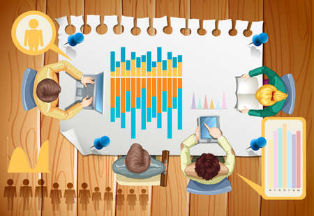 barchart: Infographic with business people and graphs illustration
